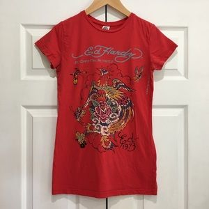ED HARDY Red Bird & Butterfly Short Sleeve Tee